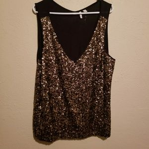 Brand New Bronze Sequin Top